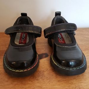 VTG Keds black platform shoe rainbow stitching
